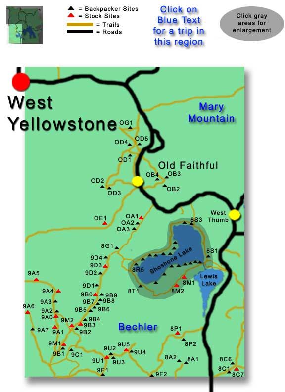 Southwest Campsites, Yellowstone Map
