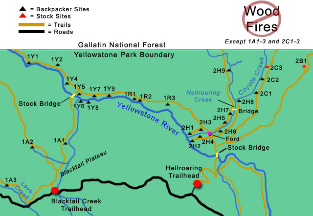 Yellowstone River Campsites Map
